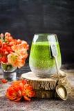 戒毒所ombre分层了堆积matcha绿茶chia种子布丁 素食主义者点心用椰奶 健康素食早餐 库存图片