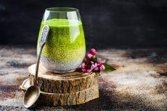 戒毒所ombre分层了堆积matcha绿茶chia种子布丁 素食主义者点心用椰奶 健康素食早餐 免版税图库摄影
