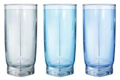 水或汁液的三块不透明的玻璃 库存例证