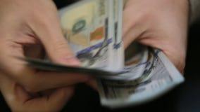 付或计数钱 关闭美元钞票 为所有财政,商业,财宝或者银行业务录影概念完善 M 股票录像