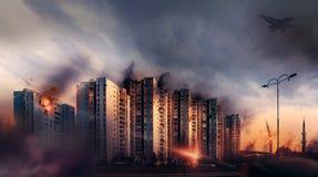 战争在城市 炮击平民区 免版税库存照片