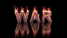 战争在火的文本燃烧光滑的表面上 股票录像
