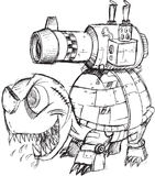 战争坦克乌龟剪影 免版税库存图片