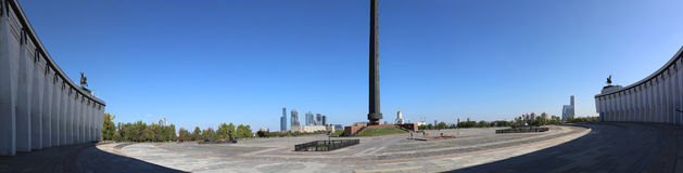 战争纪念建筑在Poklonnaya小山的(全景),莫斯科,俄罗斯胜利公园 库存照片