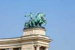 战争雕象在英雄正方形的在布达佩斯,匈牙利 库存图片