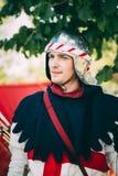 战士中世纪文化节日的阿切尔参加者在是 免版税库存图片