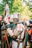 战士中世纪文化节日的骑士参加者  免版税库存照片