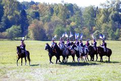 战士乘驾马 绿草和树背景 图库摄影