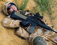 战士受伤 图库摄影