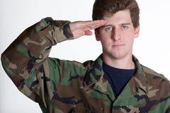年轻战士向致敬 库存照片