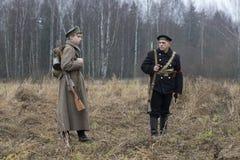 战士和水手 国际军事历史节日的参加者 免版税库存照片