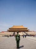 战士在故宫,北京守卫 免版税库存照片