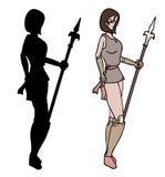 战士妇女阴影 免版税库存图片
