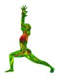 战士姿势瑜伽,水彩绘画chakra,强和powerf 免版税库存图片
