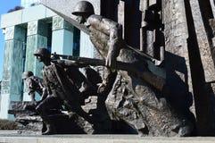 战士对华沙起义的细节纪念碑 库存照片