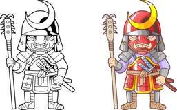 战士武士,滑稽的例证彩图 免版税库存图片