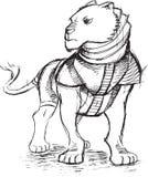 战士狮子剪影乱画 免版税库存图片