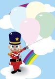 战士玩偶和气球 免版税库存照片