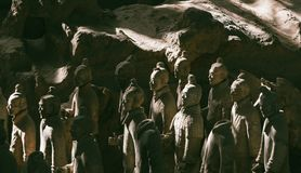 战士著名秦始皇兵马俑特写镜头在羡,中国 免版税库存照片