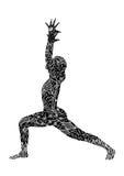 战士1瑜伽姿势, 7手拉chakra花花卉,强和强有力的传染媒介 免版税图库摄影