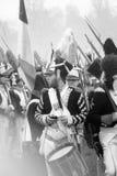 战士reenactor,音乐家(鼓手)的画象 免版税库存照片