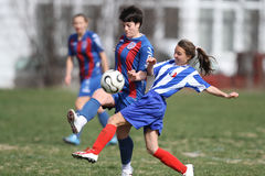 战斗为球的女孩在足球赛期间 库存图片