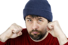 战斗准备好拳头的人 免版税库存照片