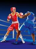 战斗在圆环,一的两位拳击手猛击别的 图库摄影