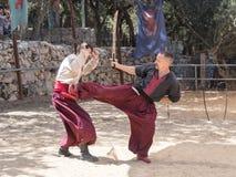 战斗在耶路撒冷`的节日`骑士的两个乌克兰哥萨克人在耶路撒冷,以色列 库存图片