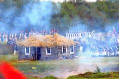 战斗场面 在战场的战士战斗 免版税图库摄影