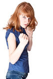 战斗女孩微笑 图库摄影