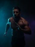 战斗姿势的剪影露胸部的运动人 免版税库存图片