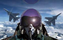 战斗机飞行员在日出期间的驾驶舱视图 库存照片