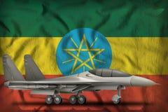 战斗机,在埃塞俄比亚州旗子背景的拦截机 3d?? 皇族释放例证
