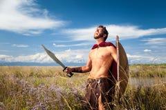 战斗的古老战士在风景背景中 免版税库存照片