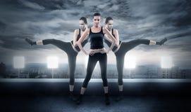 战斗的姿势的坚韧妇女 免版税库存图片