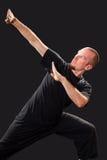 战斗的姿势的武术老师 免版税图库摄影