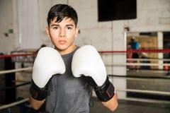 战斗的姿态的年轻男性拳击手 免版税库存图片