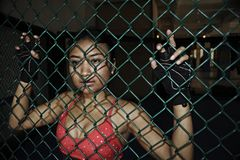 战斗的手套和体育的美丽和性感的亚裔战斗机妇女穿衣在MUTTAHIDA MAJLIS-E-AMAL笼子摆在凉快里面 图库摄影