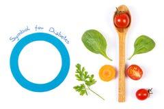 战斗的糖尿病和新鲜蔬菜,健康营养概念的标志 免版税库存照片