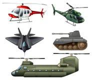 战斗的jetplane、砍刀、大炮和坦克 免版税库存图片