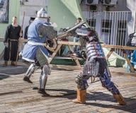 战斗骑士在竞技场 免版税库存照片