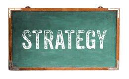 战略文本在一个宽绿色老脏的葡萄酒木黑板或减速火箭的黑板写的词消息有被隔绝的框架的 免版税库存图片