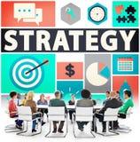 战略解答战术配合成长视觉概念 免版税图库摄影