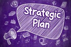 战略计划-在紫色黑板的动画片例证 库存例证