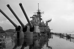 战舰开枪密苏里 免版税库存照片