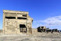 战舰矿的海岛废墟 免版税库存照片