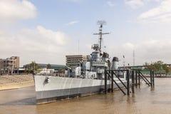 战舰USS Kidd在巴吞鲁日,路易斯安那 免版税库存照片