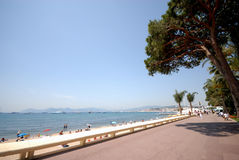 戛纳法国海滨视图 库存照片