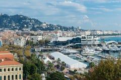 戛纳,法国全景  免版税库存照片